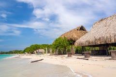 Playa Blanca Beach Huts Stock Afbeelding
