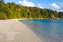 Playa blanca de la arena con la selva Foto de archivo libre de regalías