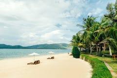 Playa blanca de la arena con los sunbeds y las palmas Foto de archivo