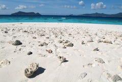 Playa blanca de la arena de Virgen en la isla de Mayotte Imagen de archivo libre de regalías