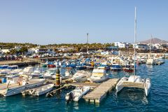 Boats and Yachts in Rubicon Marina, Lanzarote, Canary Islands, Spain. Playa Blanca, Lanzarote, 03 April, 2017: Boats and Yachts in Rubicon Marina, Lanzarote stock images