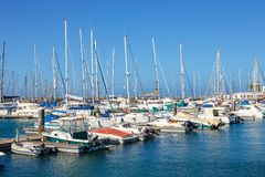 Boats and Yachts in Rubicon Marina, Lanzarote, Canary Islands, Spain. Playa Blanca, Lanzarote, 04 April, 2017: Boats and Yachts in Rubicon Marina, Lanzarote stock photo