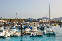 Boats and Yachts in Rubicon Marina, Lanzarote, Canary Islands, Spain. Playa Blanca, Lanzarote, 01 April, 2017: Boats and Yachts in Rubicon Marina, Lanzarote royalty free stock images