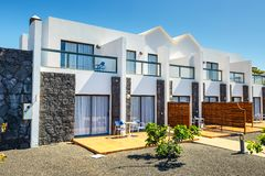Buildings and area hotel in Playa Blanca, Lanzarote. Playa Blanca, Lanzarote, April 04, 2017: Buildings and area hotel in Playa Blanca, Lanzarote royalty free stock photography