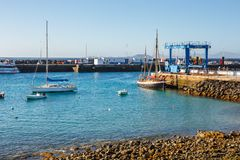 Boats and Yachts in Rubicon Marina, Lanzarote, Canary Islands, Spain. Playa Blanca, Lanzarote, 29 March, 2017: Boats and Yachts in Rubicon Marina, Lanzarote stock images