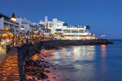 Playa Blanca, Lanzarote, Spain. Night scene of the Playa Blanca resort at twilight, located on the Lanzarote Island in the Canary Islands, Spain Royalty Free Stock Photos