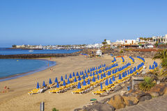 Beach of Playa Blanca without people in early morning Stock Photography