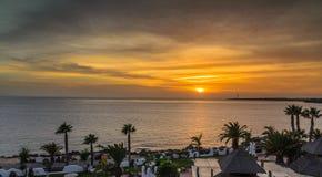 Playa Blanca. Sunset from Timanfaya palace hotel, lanzerote, canary islands royalty free stock photos