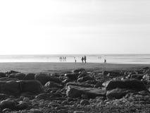 Playa blanco y negro Imágenes de archivo libres de regalías