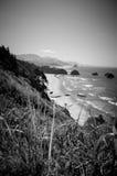 Playa blanco y negro Vista Foto de archivo