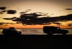 Playa Broome del cable de la silueta 4WD Foto de archivo libre de regalías