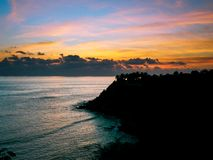 Playa Carrizalillo au coucher du soleil photos stock