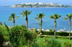 Playa con las palmeras en Bodrum Fotos de archivo