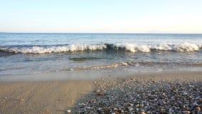 Playa con las pequeñas rocas y onda
