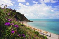 Playa costera con el mar claro Fotografía de archivo