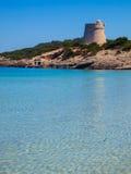 Playa d'en la playa del bossa, Ibiza Fotos de archivo libres de regalías