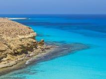 Playa de Agiba en Marsá Matrú fotos de archivo libres de regalías