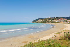 Playa de Agios Stefanos en Corfú, Grecia Imagen de archivo