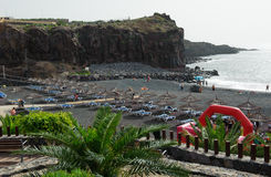 Playa de Ajabo small volcanic public beach stock image
