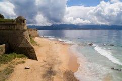 Playa de Ajjacio Foto de archivo libre de regalías
