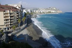 Playa de Almunecar, España Foto de archivo libre de regalías