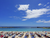 Playa de Amadores beach. Gran Canaria. Spain. Beautiful beach of Playa de Amadores near Puerto Rico town, Gran Canaria, Canary Islands. Spain royalty free stock photography
