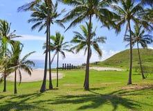 Playa de Anakena, isla de pascua Imagenes de archivo