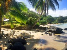 Playa de Anini en la isla de Kauai Hawaii foto de archivo