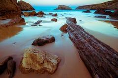 Playa de Arnia, playa mágica foto de archivo