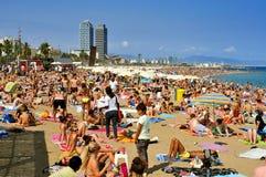 Playa de Barceloneta del La, en Barcelona, España Imagen de archivo libre de regalías