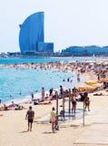 Playa de Barceloneta en Barcelona fotografía de archivo libre de regalías