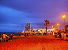 Playa de Barceloneta en Barcelona Foto de archivo libre de regalías