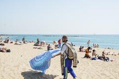 Playa de Barceloneta en Barcelona, España Imagen de archivo