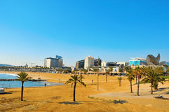 Playa de Barceloneta en Barcelona, España Foto de archivo