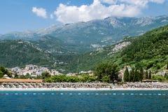 Playa de Becici en Budva, Montenegro Imagenes de archivo