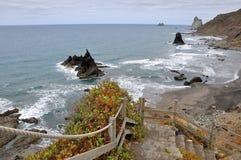 Playa de Benijo tenerife Ισπανία στοκ φωτογραφίες με δικαίωμα ελεύθερης χρήσης