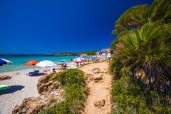 Playa de Bombarde del delle de Spiaggia cerca de Alghero, Cerdeña, Italia Foto de archivo libre de regalías