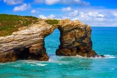 Playa de Catedrais de los catedrales de los las de Playa en Galicia España fotos de archivo libres de regalías