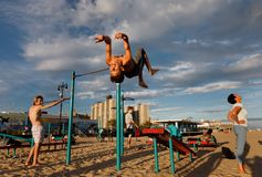 Playa de Coney Island en New York City fotografía de archivo