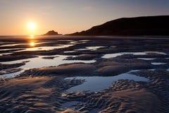 Playa de Crantock Imágenes de archivo libres de regalías