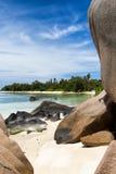 Playa de D'Argent de la fuente de Anse en la isla de Digue del La Fotos de archivo