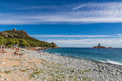 Playa de Dramont e isla-StRaphael de ¿½ le dOr del ï, Francia Fotografía de archivo