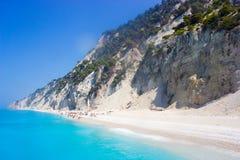 Playa de Egremni, Lefkada Foto de archivo