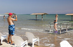 Playa de Ein Gedi Mar muerto, Israel Imagenes de archivo
