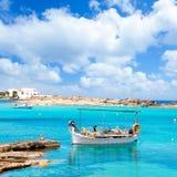 Playa de Els Pujols en Formentera imagen de archivo libre de regalías