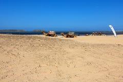 Playa de Essaouira de dos dromedarios en Marruecos, África imagen de archivo libre de regalías