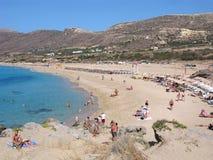 Playa de Falasarna, centro turístico famoso en Creta Foto de archivo libre de regalías