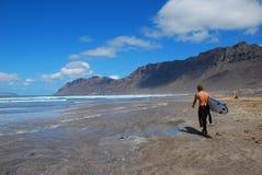 Playa De Famara, Lanzarote Zdjęcia Royalty Free