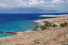 Playa de Ftenagia, isla de Halki imagen de archivo