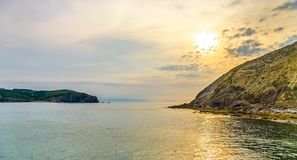 Playa De Gorliz at sunset, Spain, Basque Country, Bilbao royalty free stock photo